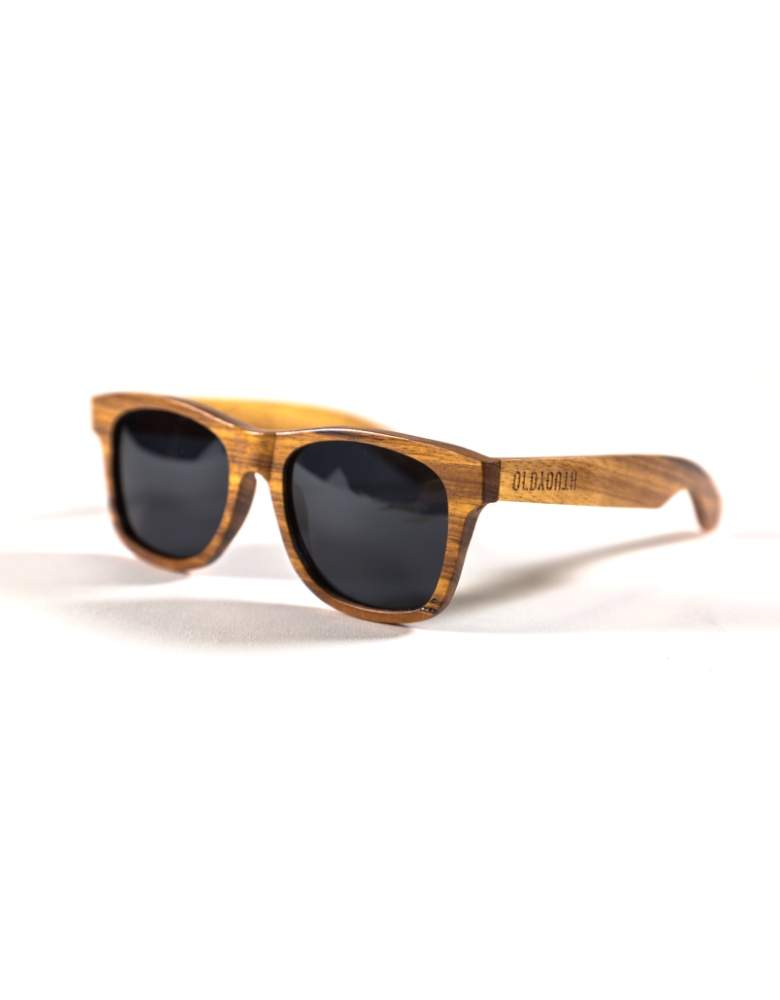 Zebra wooden sunglasses from the side