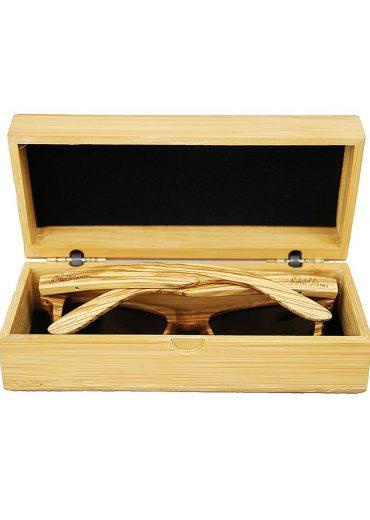 Zebra wood sunglasses in case