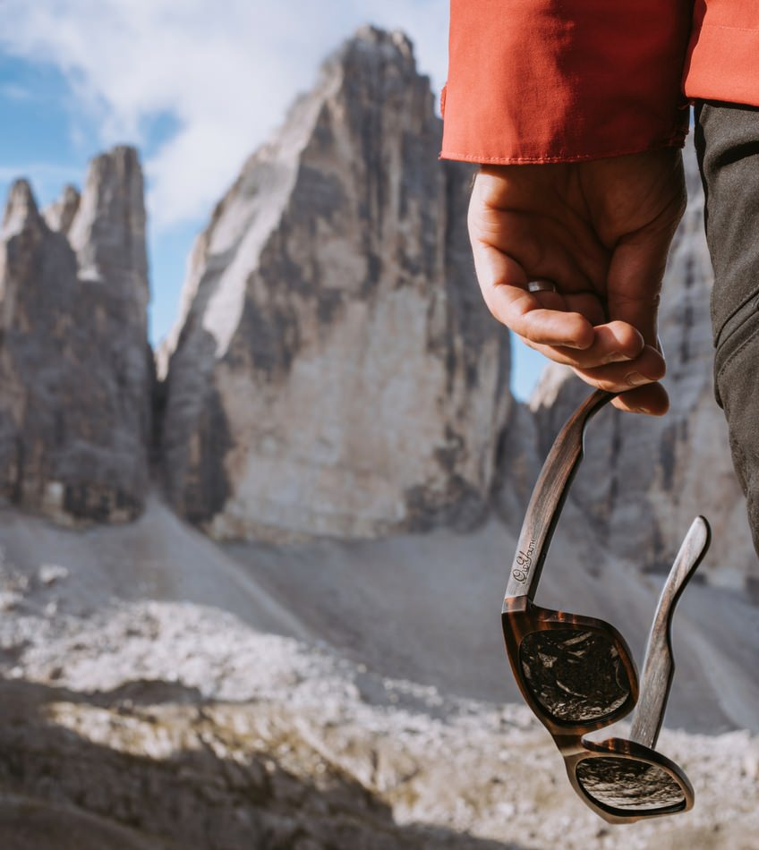 Wooden sunglasses in the alps